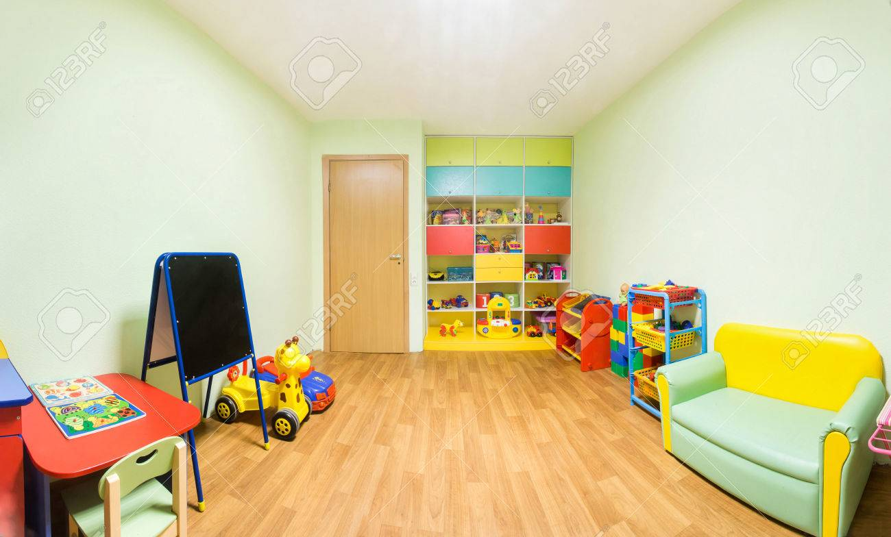 Kindergarten nursery game room light green interior
