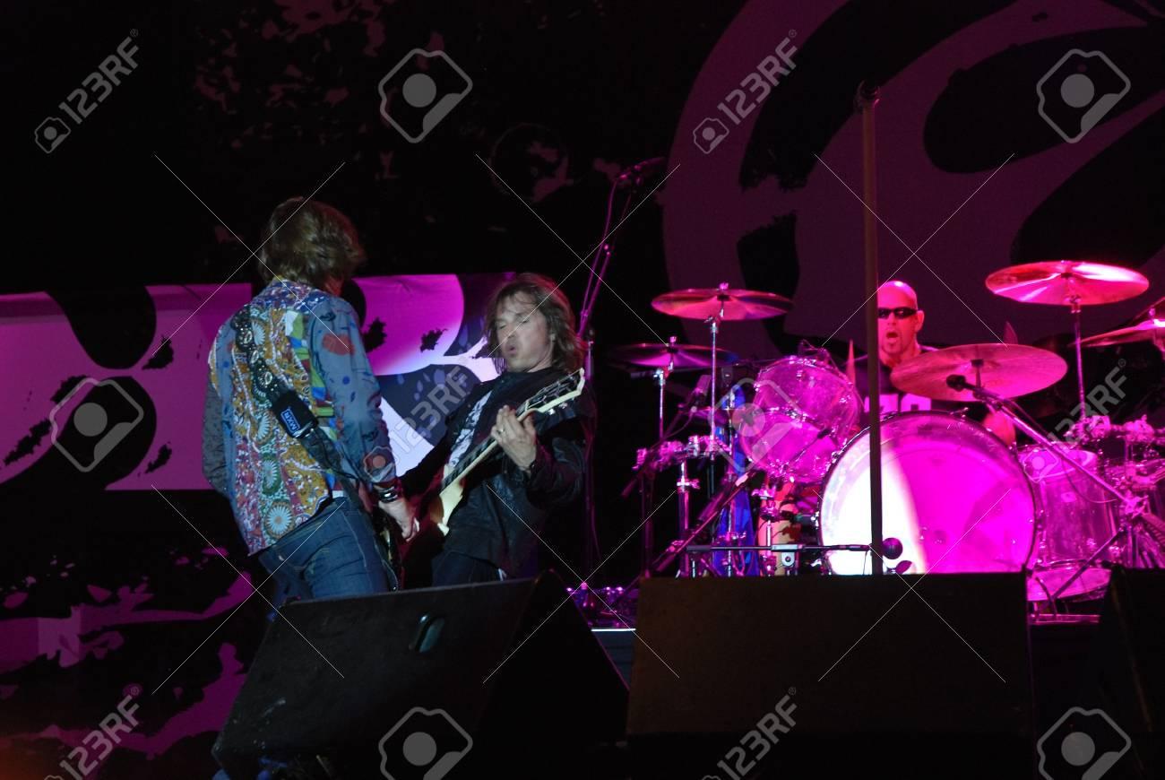 Targu Mures - Romania, August 28, 2010 - Europe Performing Live at Peninsula Festival Stock Photo - 7665357