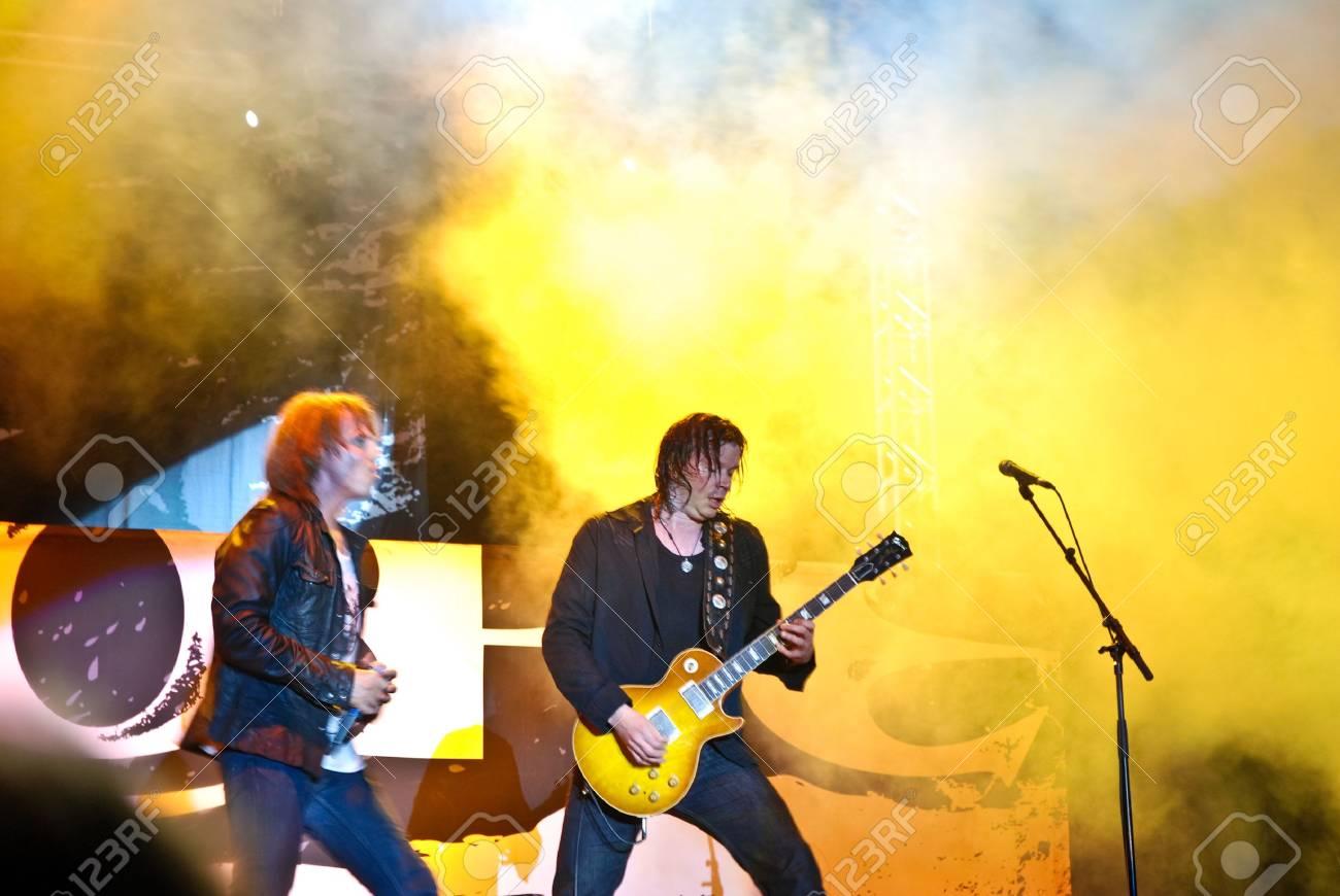 Targu Mures - Romania, August 28, 2010 - Europe Performing Live at Peninsula Festival Stock Photo - 7665362