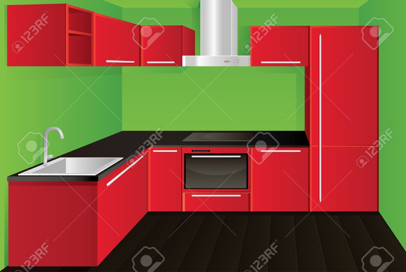 Awesome Original Modern Red Kitchen Design Stock Vector   10533933