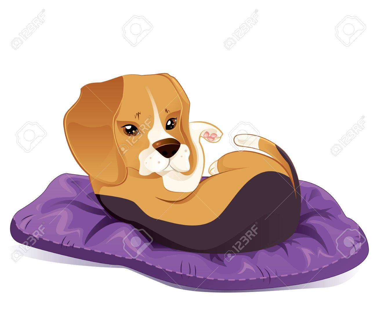 Cute beagle puppy trying to sleep Stock Vector - 13389501
