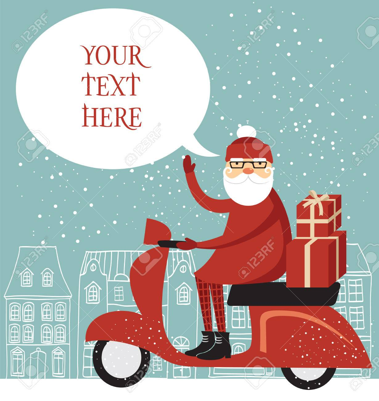 Trendy Santa Delivering Christmas Gifts On A Scooter Royalty Free ...