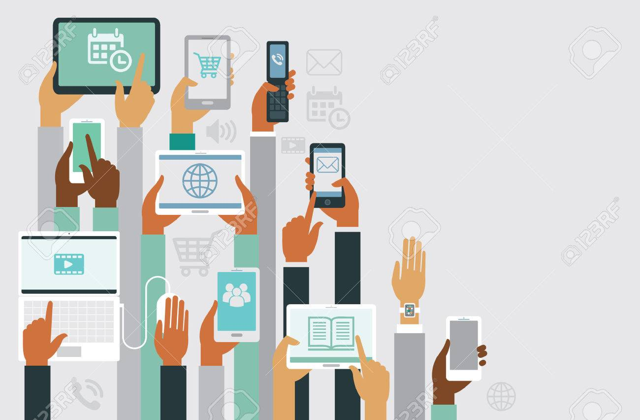 Human hands holding various smart devices copyspace design - 52523603