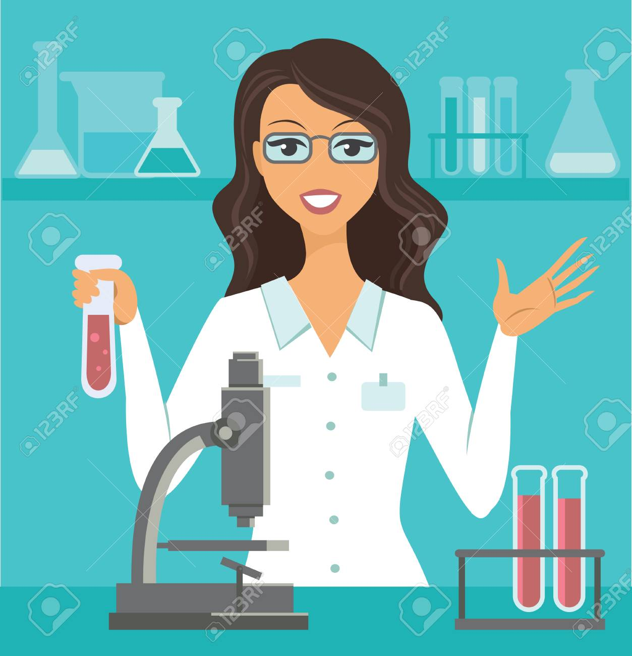 flat vector illustration of scientist working at science lab - 113540334
