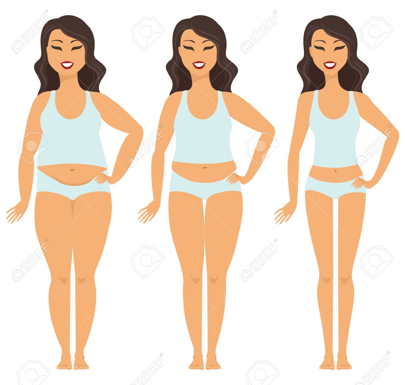 Female weight loss transformation from fat to slim - 123875891