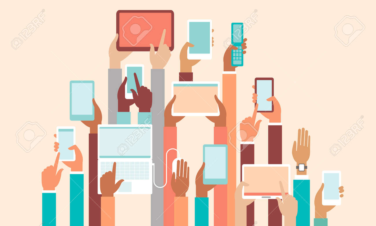 Human hands holding various smart devices copyspace flat vector illustration - 139250028