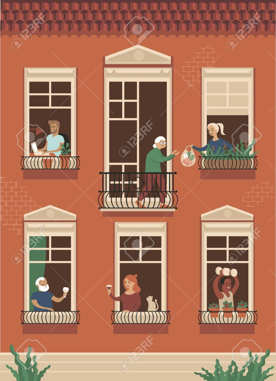 Neighbor people life through open windows. Housemates working, drinking wine, doing sport exercisessupports elderly people during self isolation. - 142826246