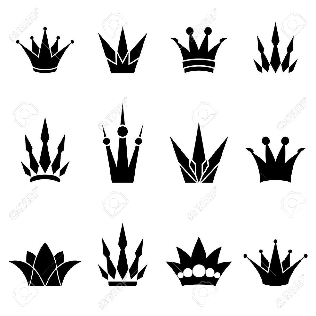 Set of logo crowns Stock Vector - 12374829