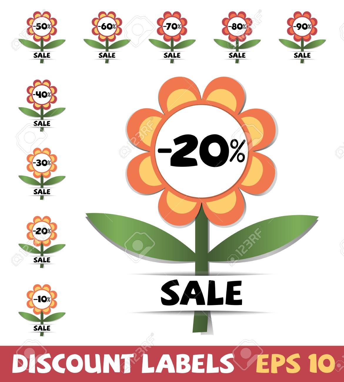 Set of discount labels Stock Vector - 13807579