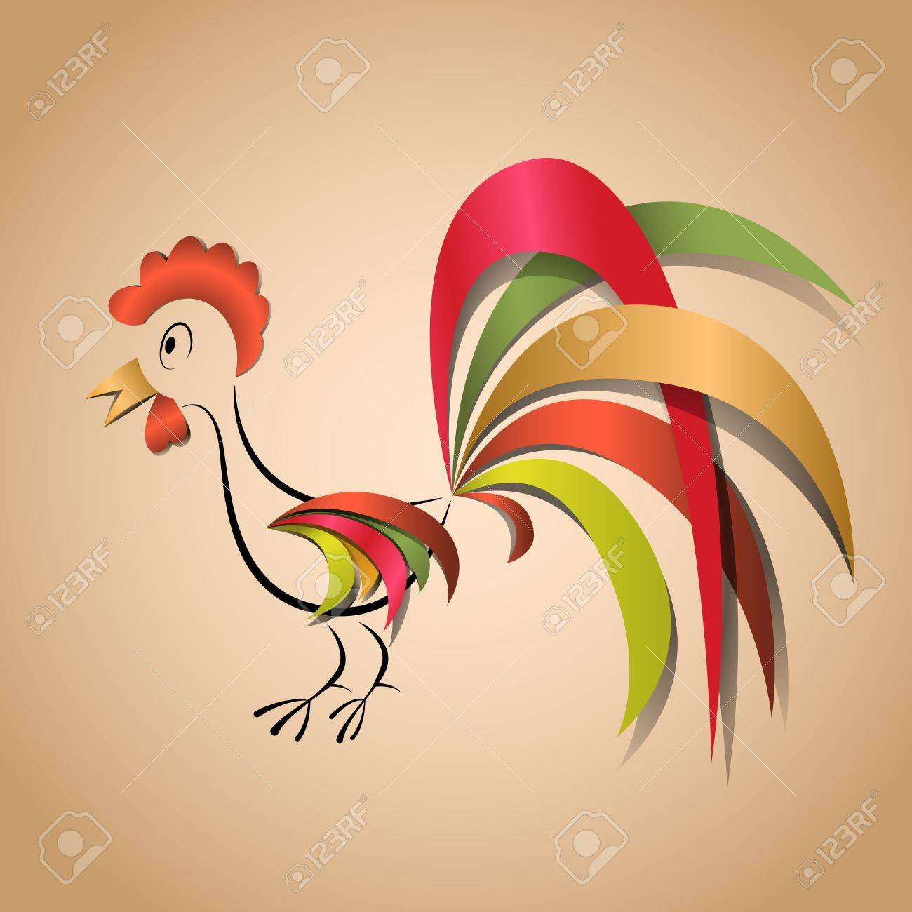 Paper cock application for any background Stock Vector - 13879161