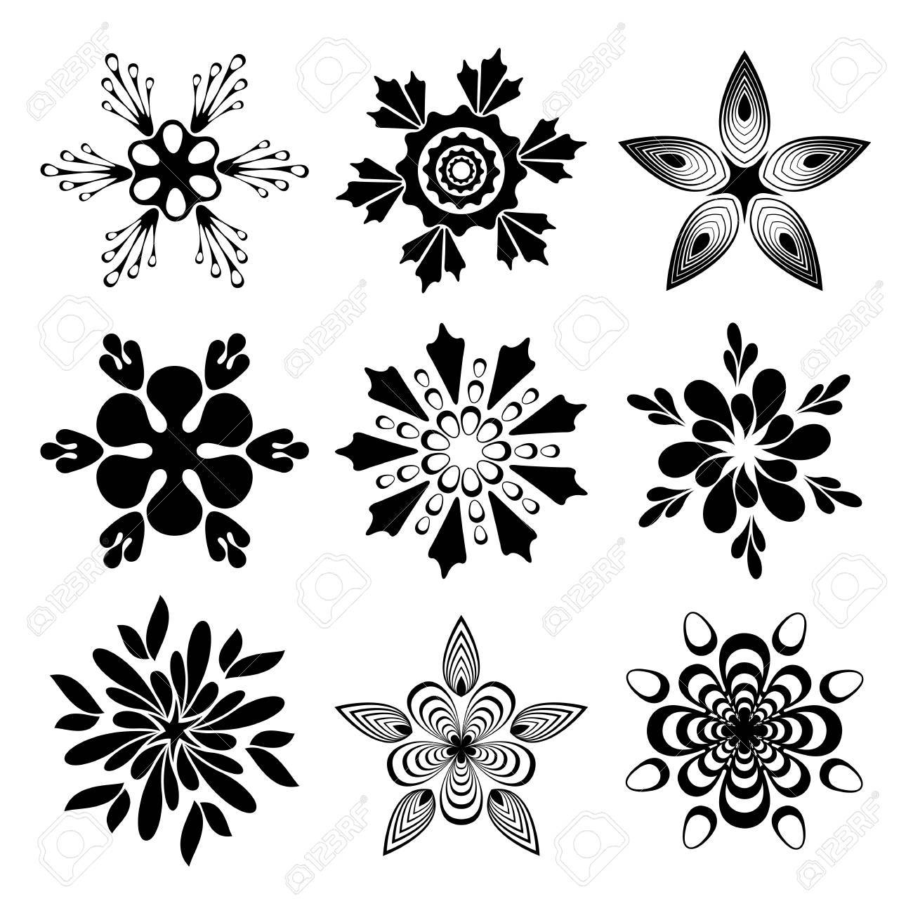 Set of creative flowers Stock Vector - 14037255