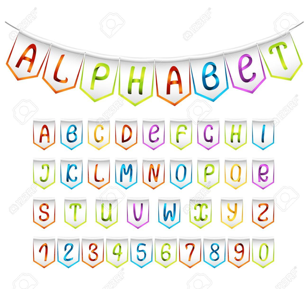 Bunting alphabet and numbers set Stock Vector - 15479053