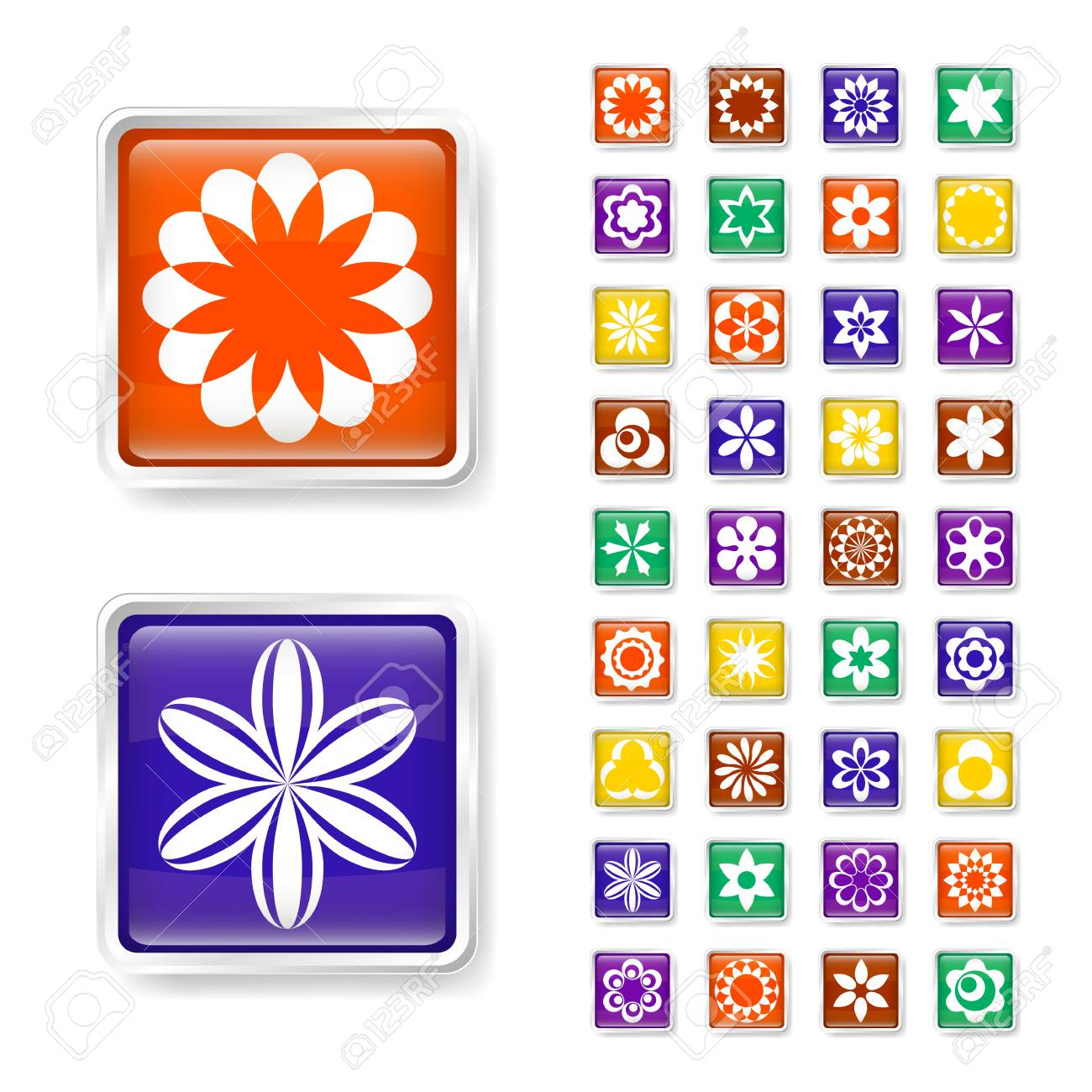 Flower web buttons Stock Vector - 15829403