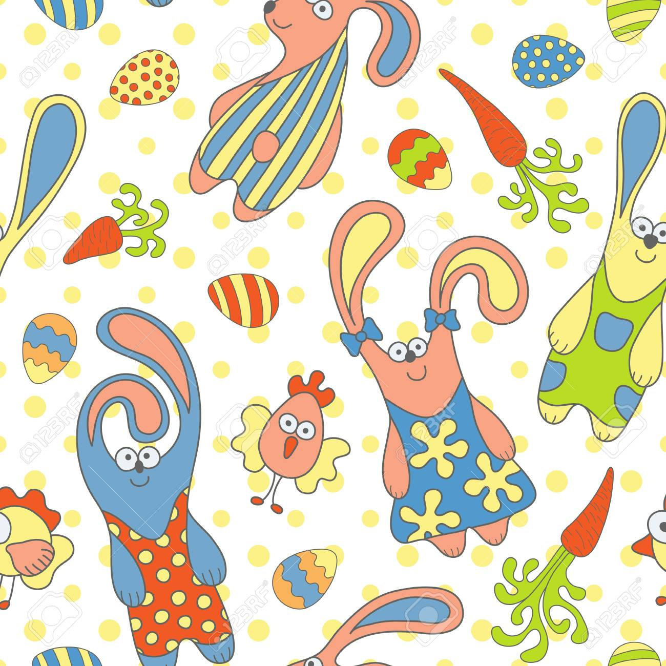 Cute seamless pattern with rabbits, carrots and chickens Stock Vector - 18189788