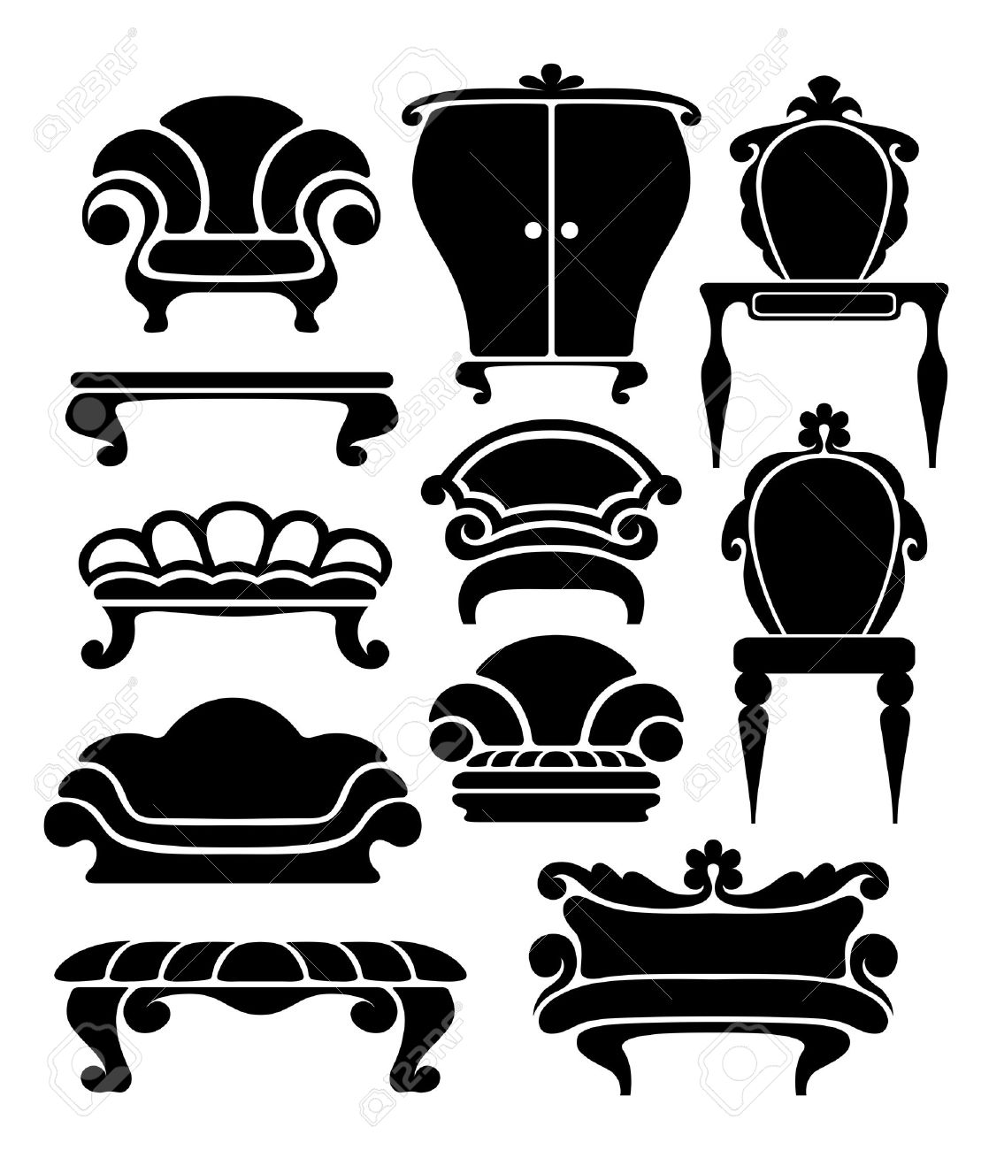 Antique chair silhouette - Antique Furniture Set Of Graphical Retro Furniture Items Illustration