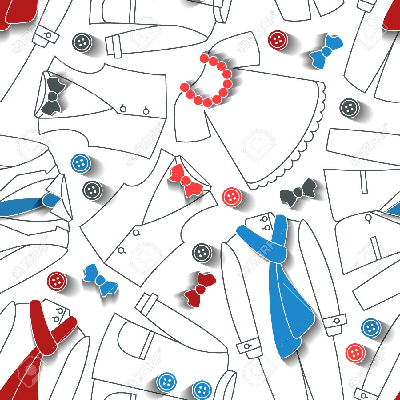 Patrón De La Ropa Sin Costuras, La Moda De Fondo Ilustraciones ...