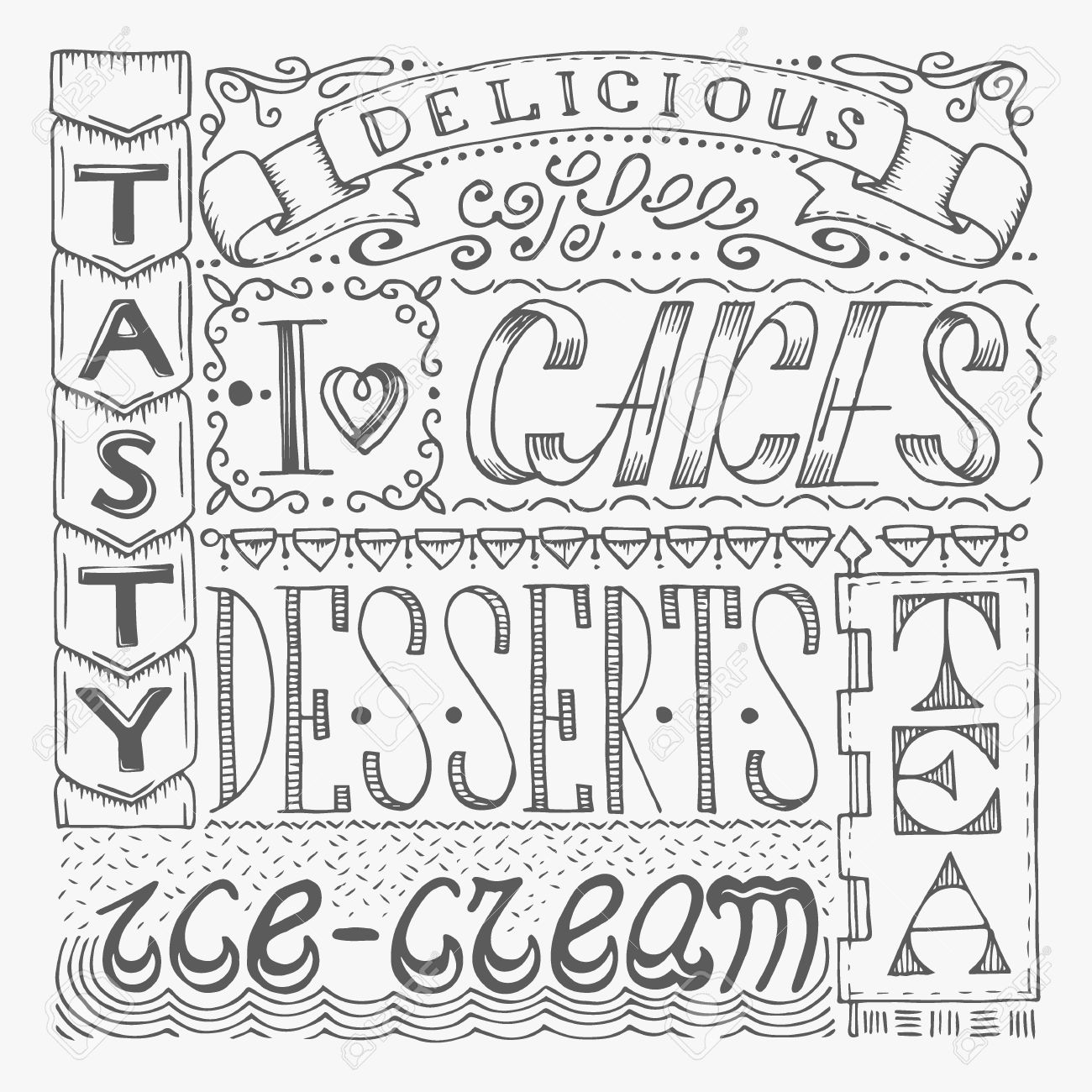 Hand Drawn Cafe Poster With Collage From Different Style Words Lettering Design Signboard For Confectionery
