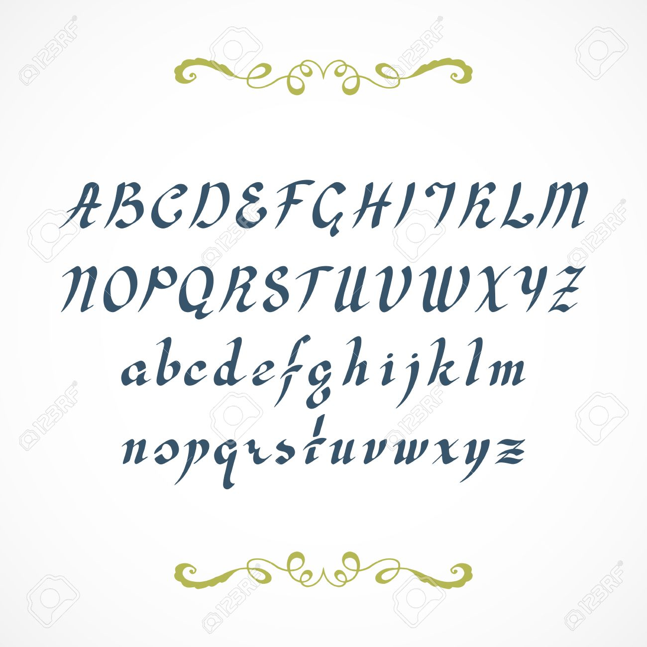 Elegant Cursive Font Not Auto Traced Based On Hand Written By Ink Pen Alphabet