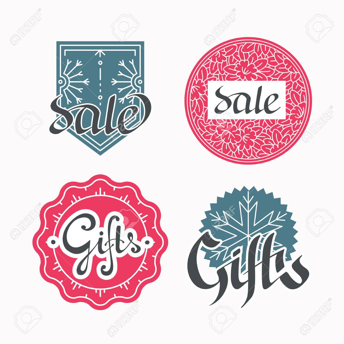 set of sales and gifts labels hand drawn lettering line seasonal