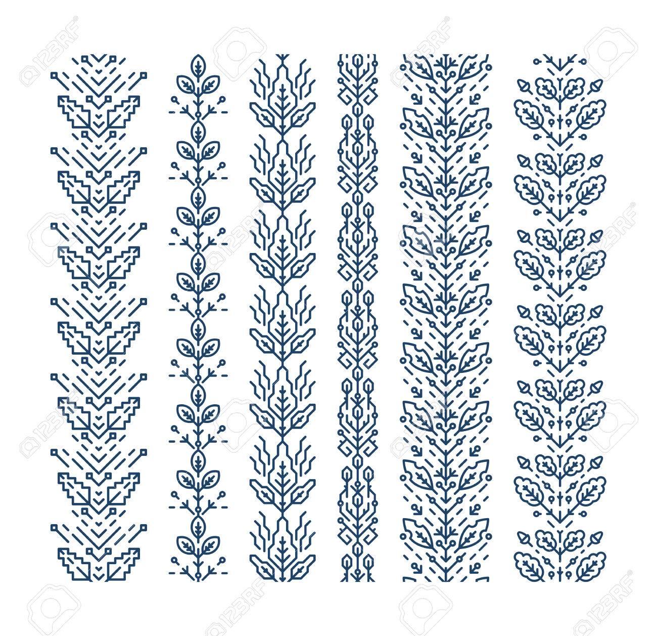 Conjunto De Costura Adornos Geométricos Florales, Pinceles ...