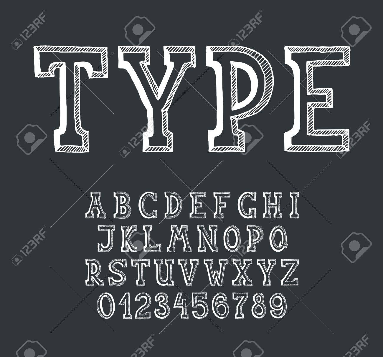 Classical Hand Drawn Serif Font With Numerals For Blackboard And Lettering Empty Outline Monochromatic