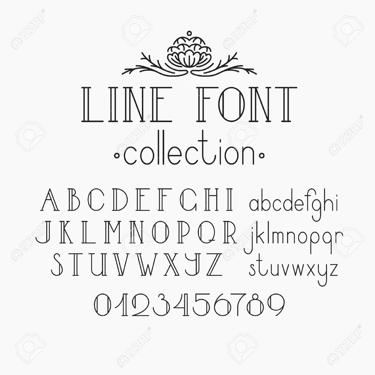 Vector Mono Line Decorative Font. Latin Alphabet Of Vintage
