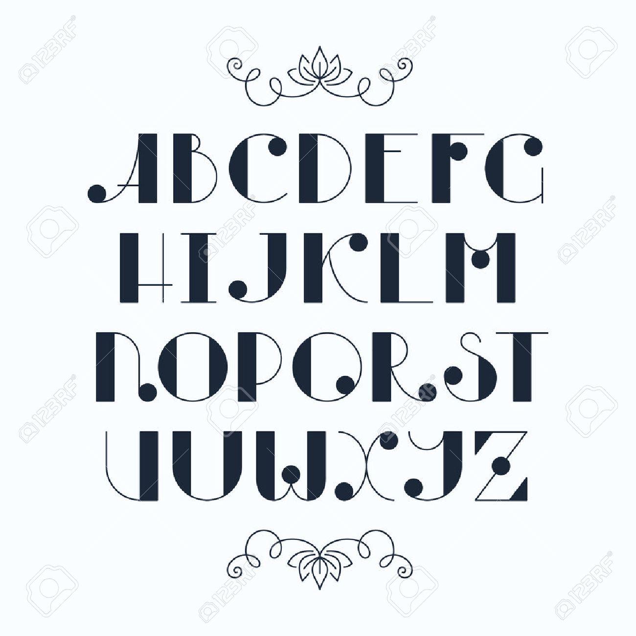 ラテン語のエレガントなかわいい typescript。大文字、単色のフォント