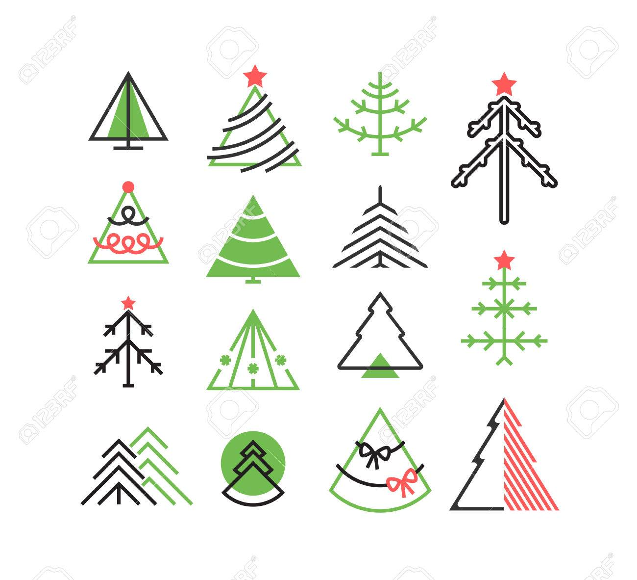 Christmas Tree Icons.Vector Set Of Graphical Color Christmas Tree Icons Signs Symbols