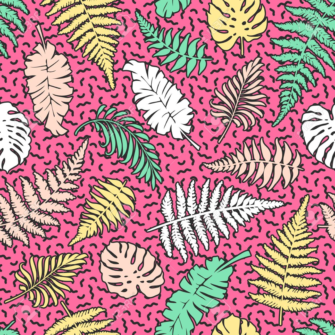 Bright Seamless Pattern With Leaves Of Palm Fern Monstera