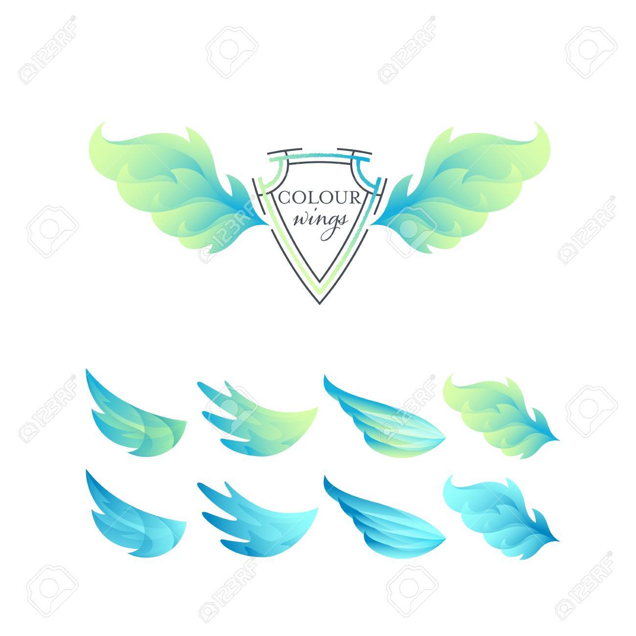Abstract gradient color wings' set  Green and blue isolated objects