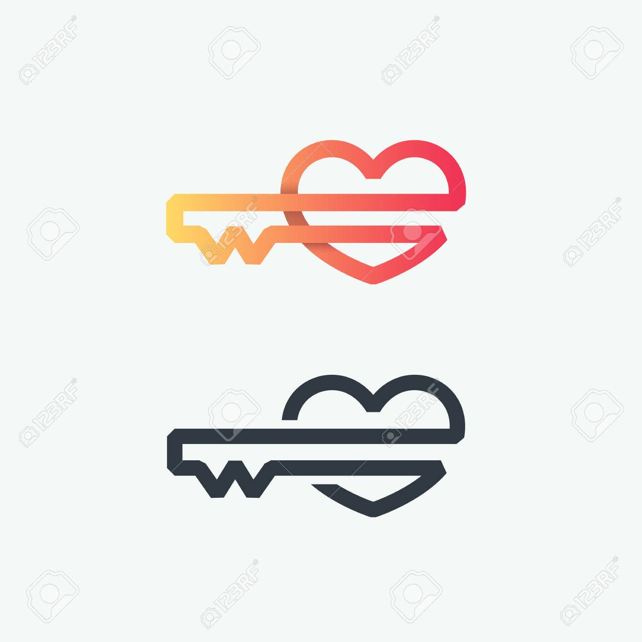 Thick Line Logo Vector Symbol Of Heart Key Line Graphical Gradient