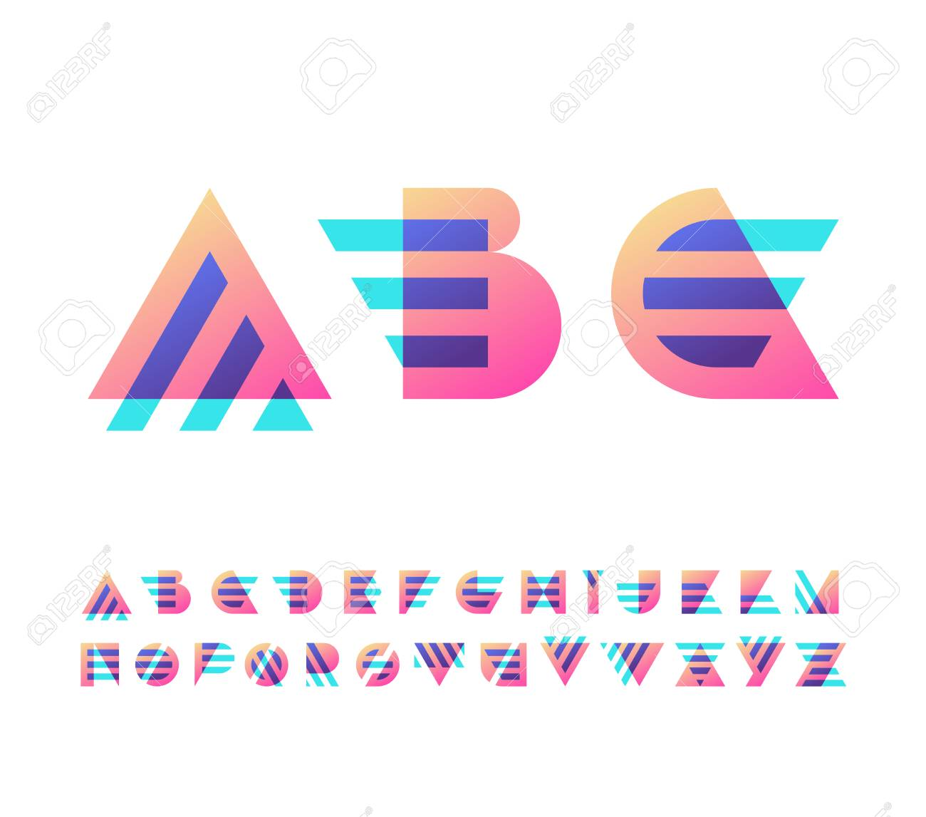 Parallel Lines And Color Gradient Blocks\' Latin Font, Graphical ...