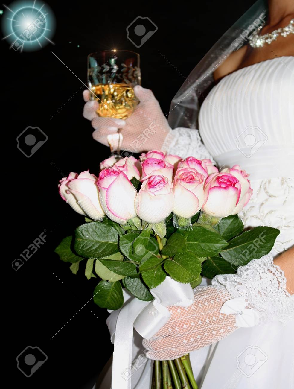 champaign and roses of the bride Stock Photo - 11740769