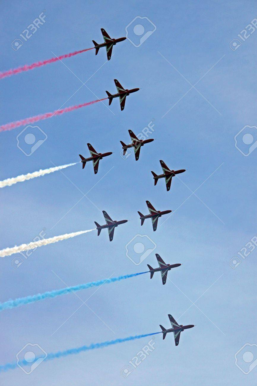 The Red Arrows RAF Airforce aerobatic, formation flying jet aeroplanes Stock Photo - 5350097
