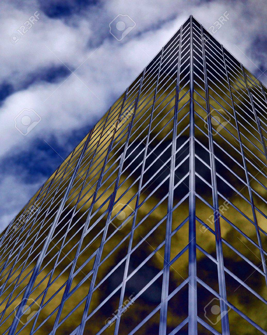 Glass windowed city centre office sky scrapers abstract with blue sky and clouds Stock Photo - 5666684