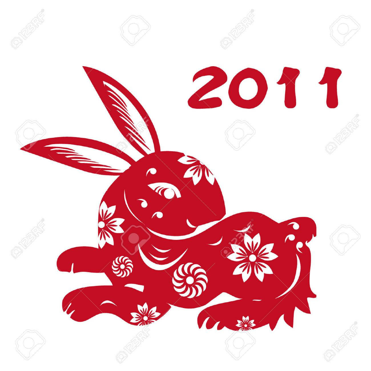 Chinese Zodiac of Rabbit Year,Chinese paper-cut of rabbit