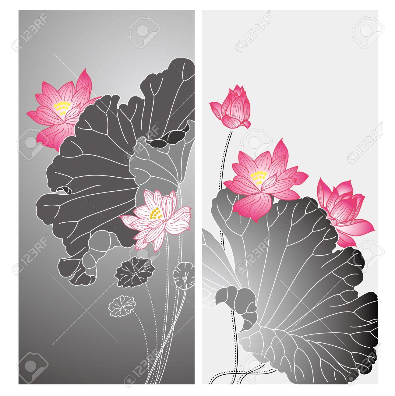 lotus flower design chinese style lotus flower drawing card