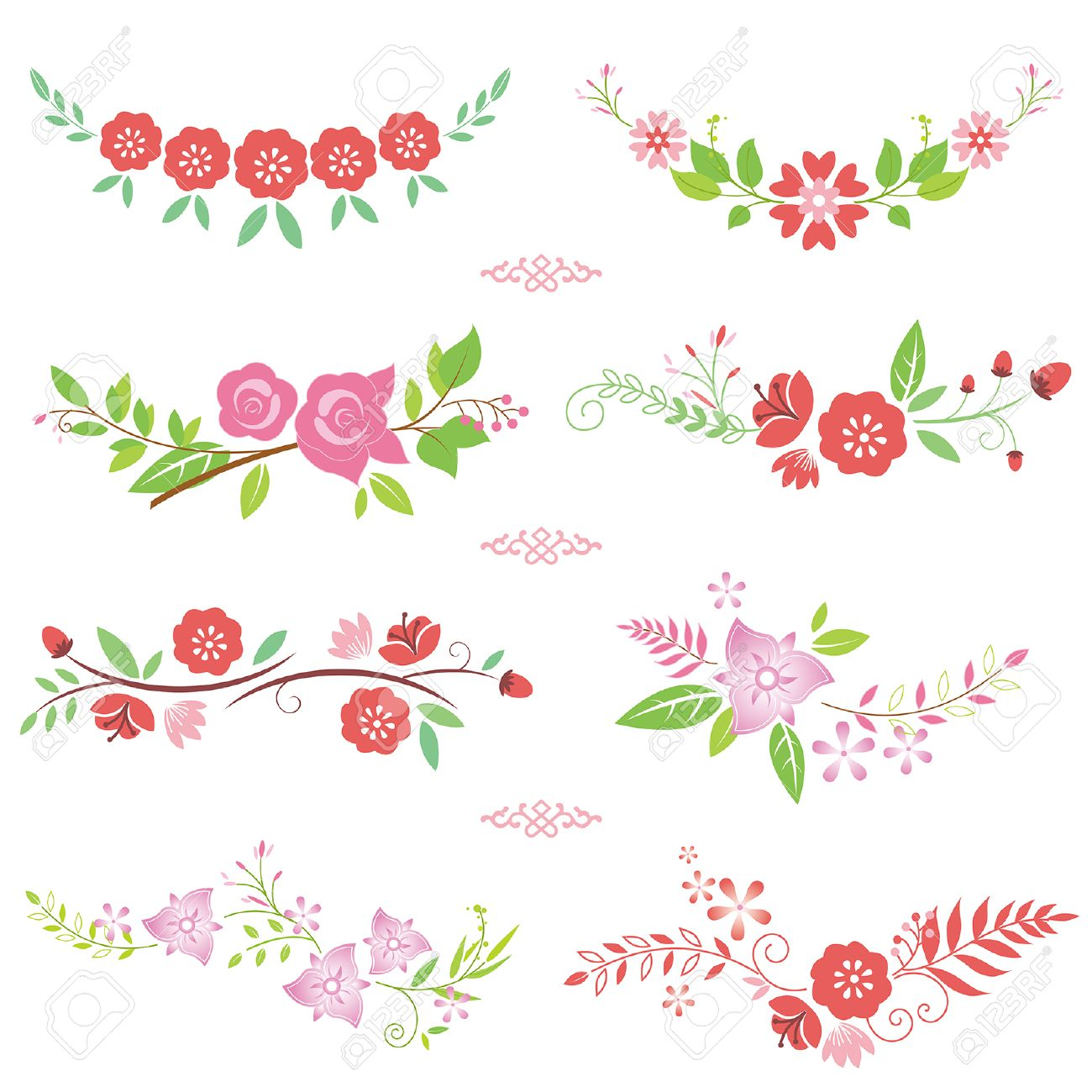 Pink flower border royalty free cliparts vectors and stock pink flower border mightylinksfo Images