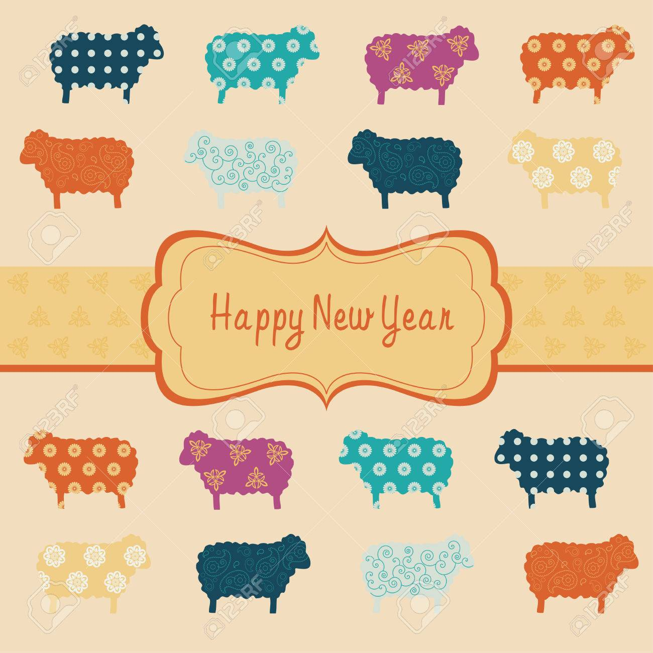 New Year Card The Chinese Goat Year Royalty Free Cliparts Vectors