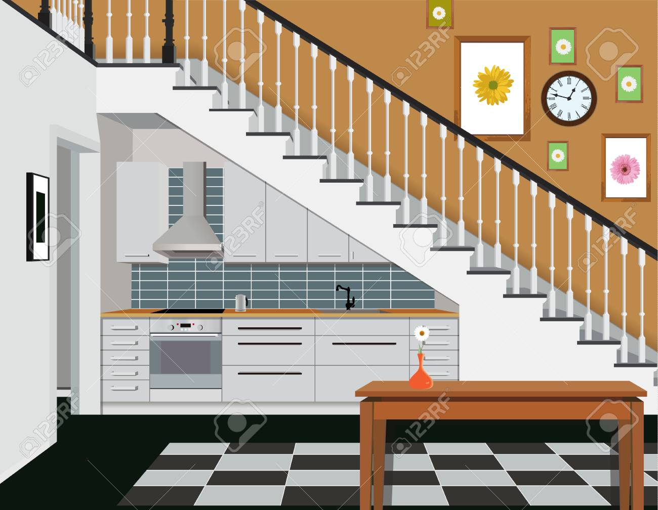 Interior of the kitchen under the stairs with furniture. Design..
