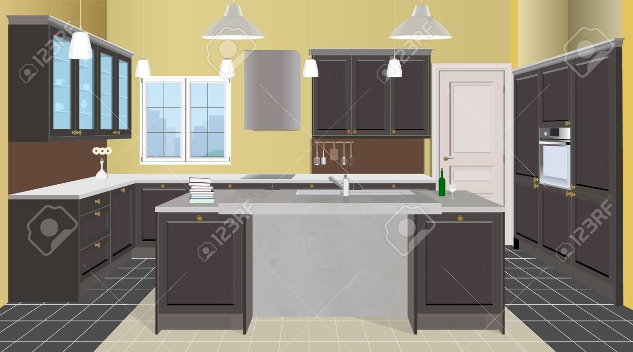 Cuisine de cuisine intérieur intérieur avec des plaques de style de cuisine  moderne. meubles de cuisine illustration