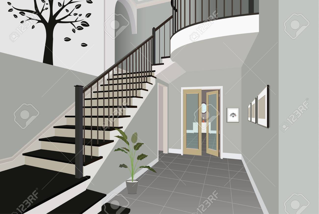 Vintage Interior Of The Hallway With A Staircase Design Of Modern