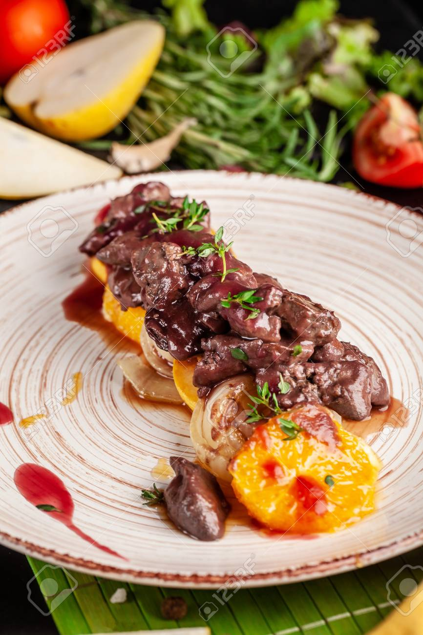 The Concept Of European Cuisine Grilled Beef Liver With Caramelized