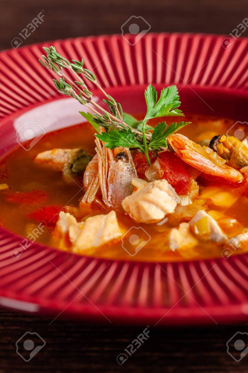 French cuisine concept  Classic French fish soup of seafood,