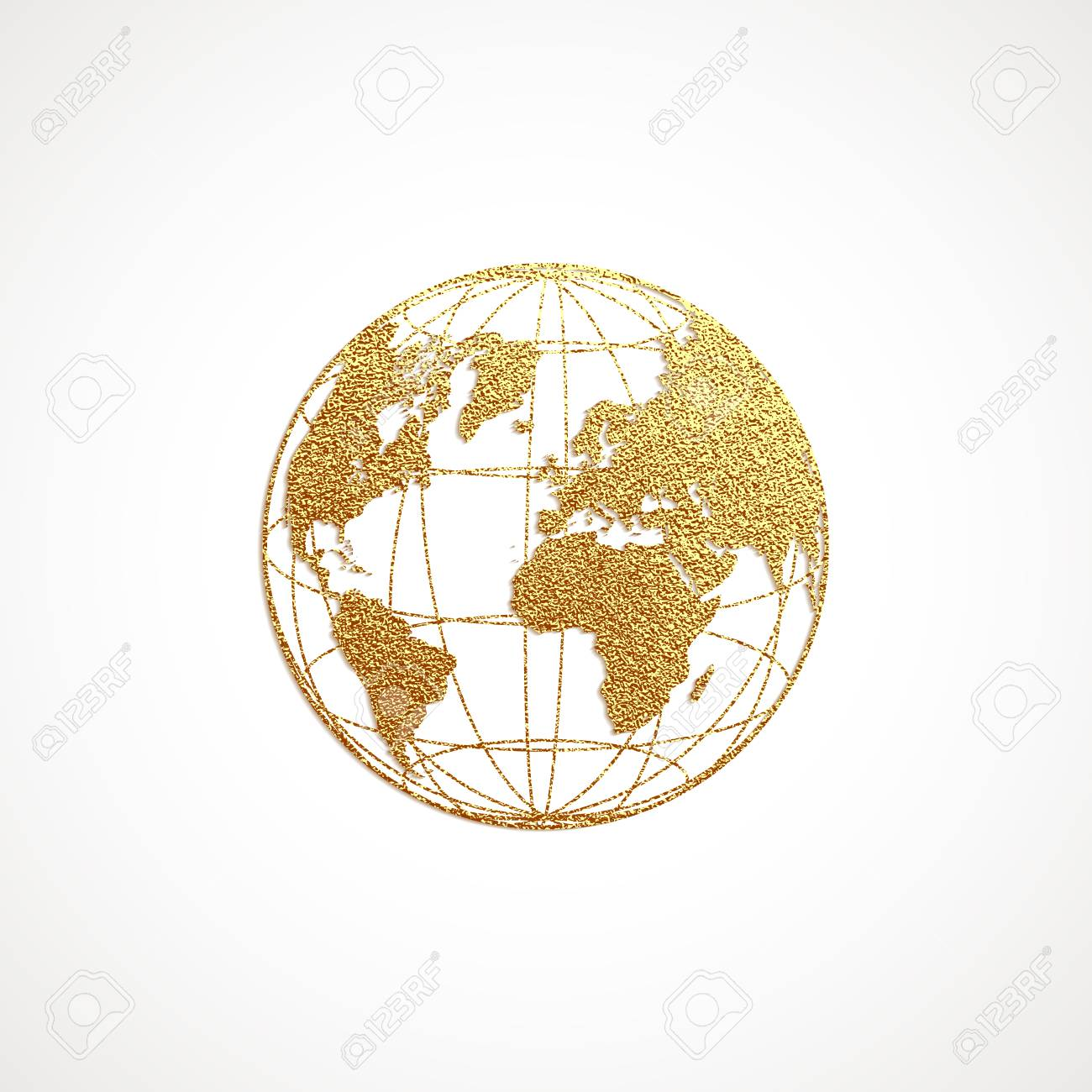 Creative Gold Map Of The World. Vector Illustration. Golden