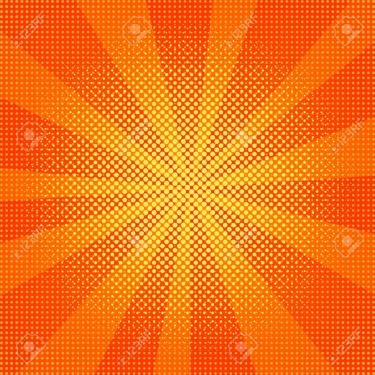 Explosion vector illustration. Sun ray or star burst element. Retro pop art background with dots. Comic book fight stamp for card Superhero action frame background. Light rays. - 109426700