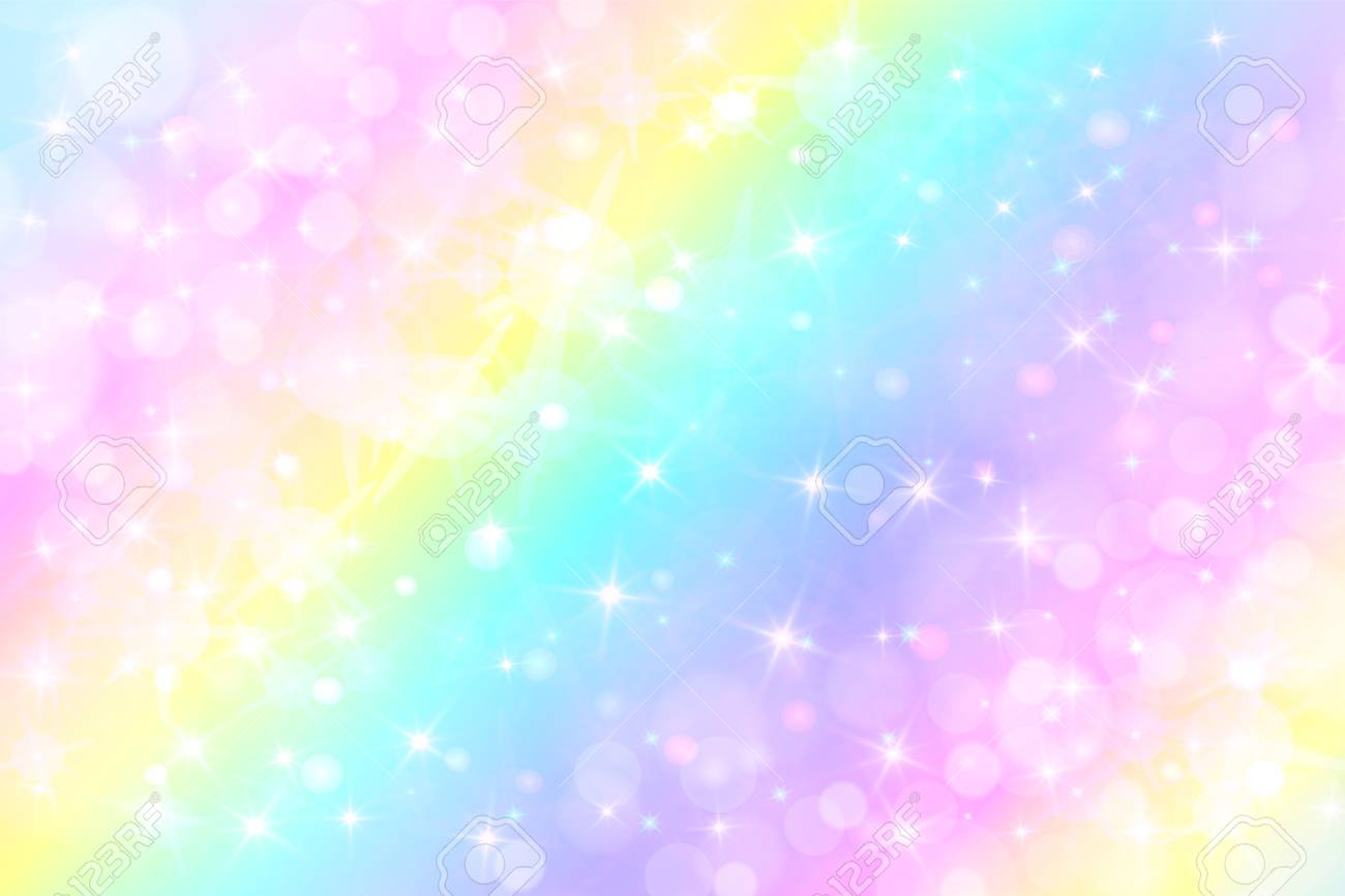 Holographic Pretty Vector Illustration In Pastel Color Galaxy