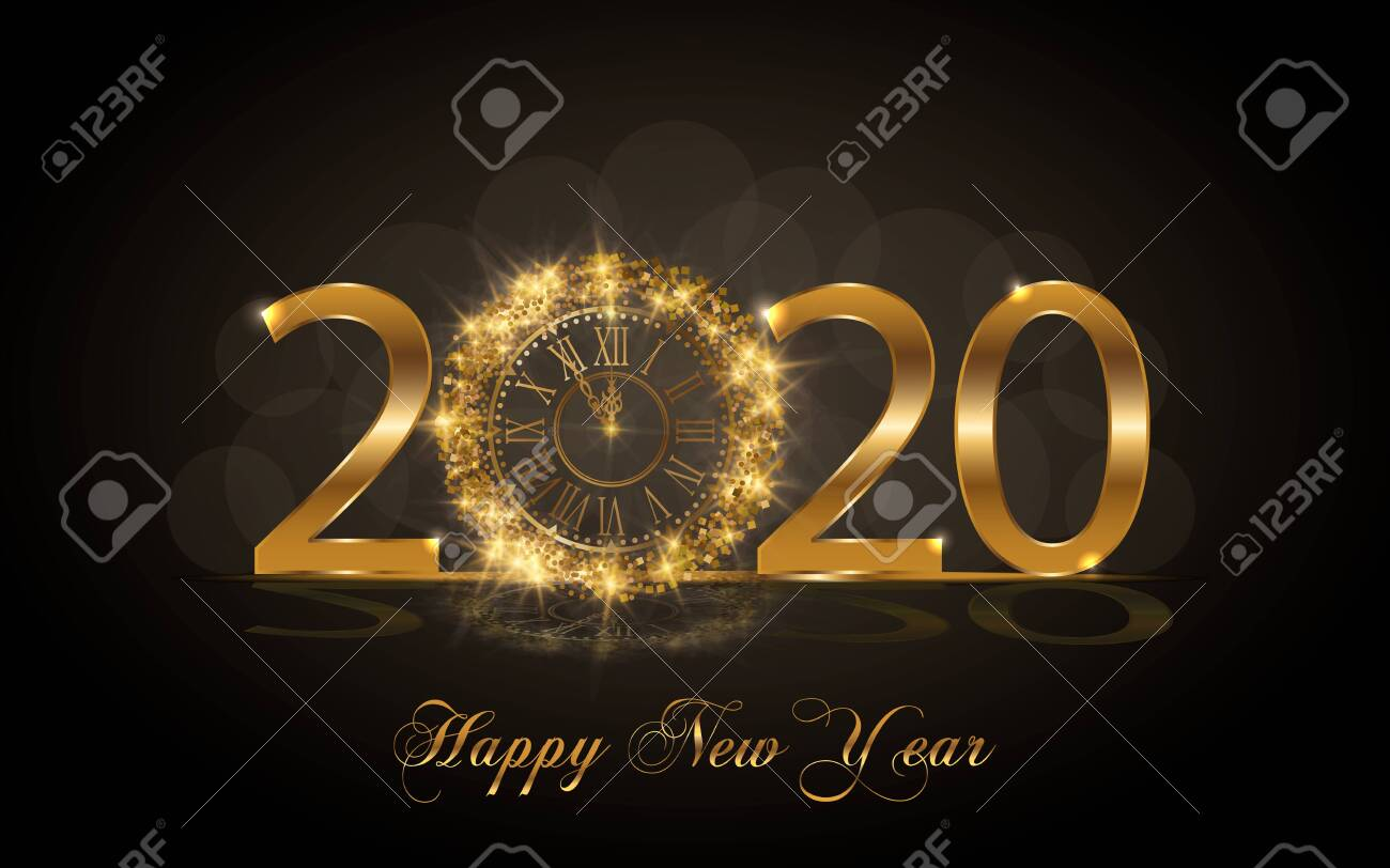 Happy New Year 2020. Background with golden sparkling texture. Gold Numbers 20, 2, 0, 02 with golden clock.. Vector Illustration for holiday greeting card, invitation, calendar poster banner - 134118920