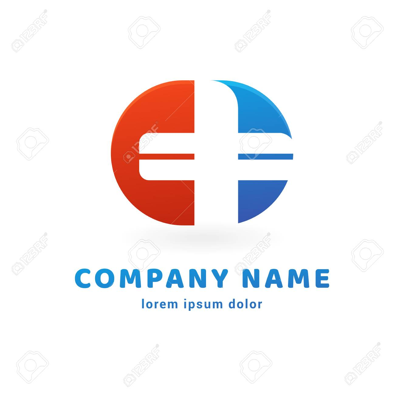 Illustration Design Of Logo Type Cross Health Flat Symbol In Red Blue And White Colors