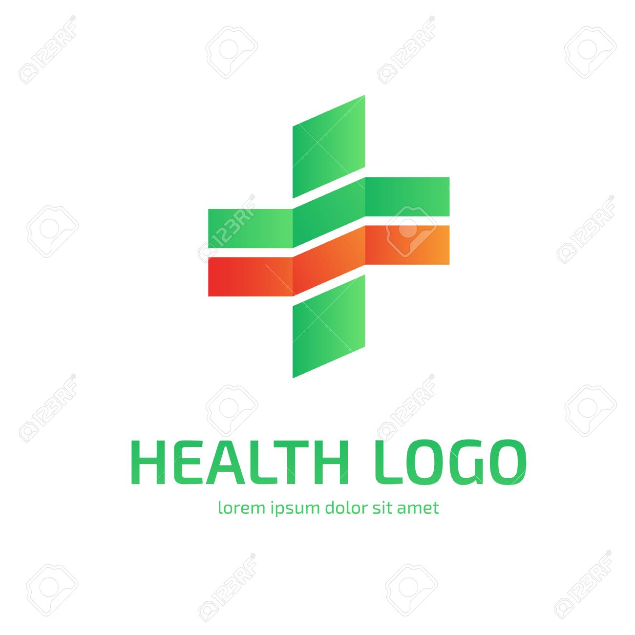 Illustration Design Of Logo Type Cross Health Flat Symbol In Green And Red Stock Vector